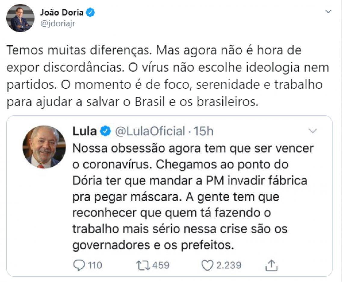 A falsa dicotomia (morrer de fome ou de vírus) faz Lula e Doria fertilizarem a covarde política da morte de Bolsonaro